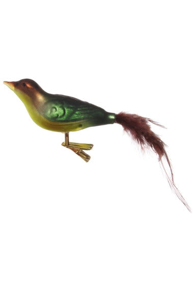 Glass Bird Ornament with Feather Tail
