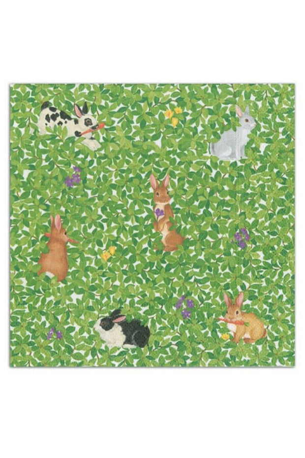 Caspari Bunnies and Boxwood Paper Luncheon Napkins