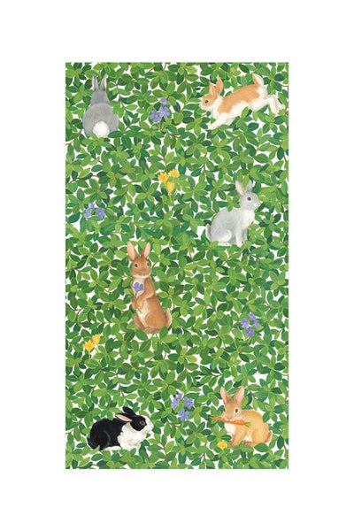 Caspari Bunnies and Boxwood Paper Guest Towel Napkins