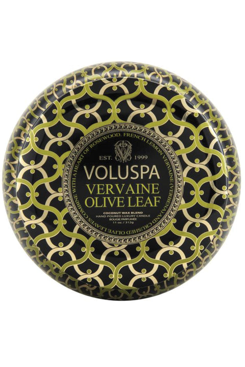 VOLUSPA, Vervaine Olive 2 Wick Maison Tin Candle