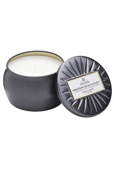 VOLUSPA, Makassar Ebony & Peach Petite Tin Candle