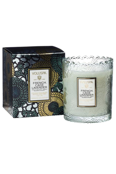 VOLUSPA, French Cade Lavender Scalloped Edge Candle