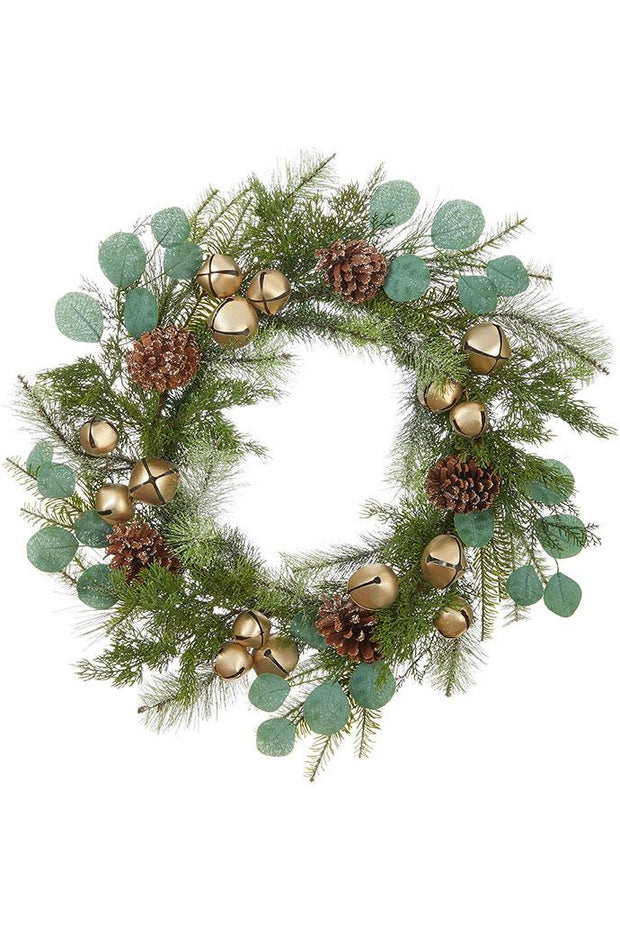 "22"" EUCALYPTUS, PINE AND JINGLE BELL WREATH"
