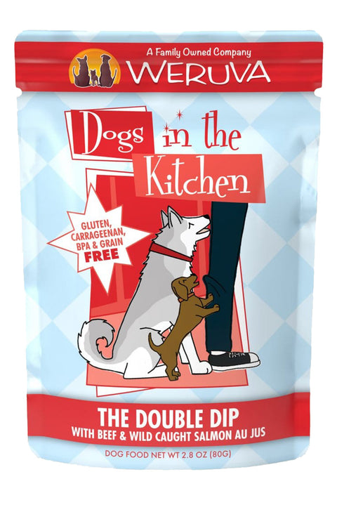 Weruva Dogs in the Kitchen Double Dip Pouch with Beef & Wild-Caught Salmon Au Jus (2.8 oz)