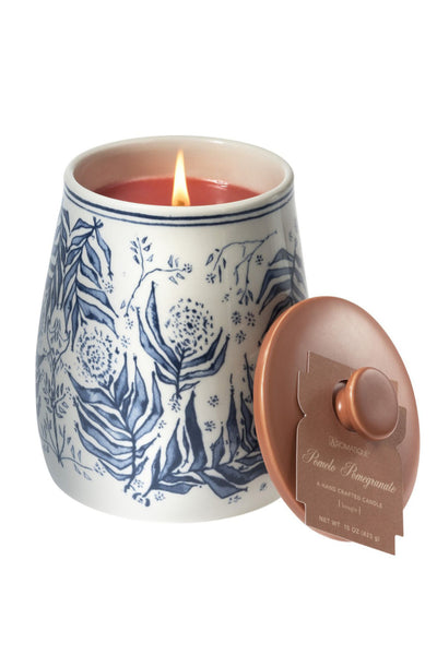 Aromatique White & Blue Ceramic Candle