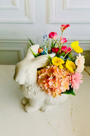 White Bunny Faux Floral Arrangement
