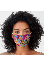Blooms On Cerulean Blue Cotton Jersey Adult Face Mask