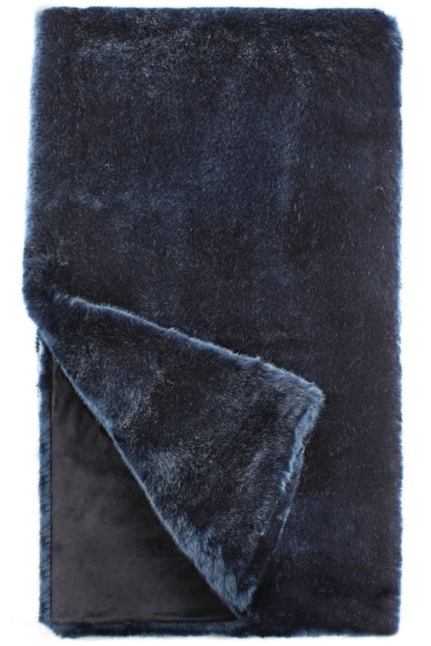 Steel Blue Faux Mink Fur Throw