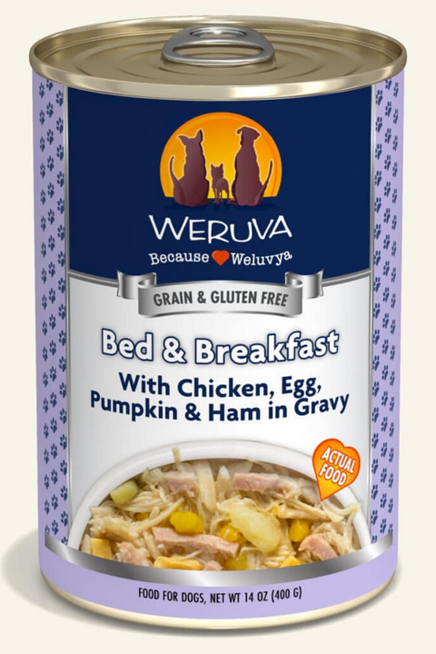 Weruva Bed & Breakfast with Chicken, Egg, Pumpkin & Ham in Gravy Dog Food Cans