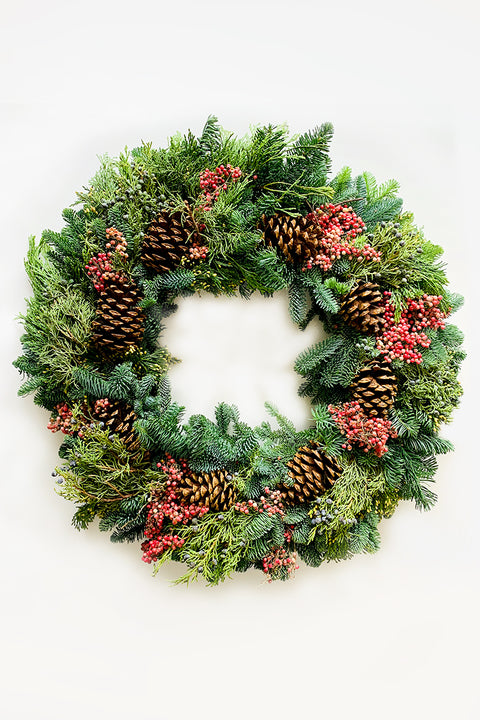 Wreath | Fresh | Pepper Berries and Pinecones 24""
