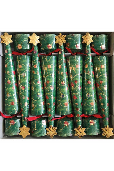 Glittering Tree Cone-Shaped Celebration Christmas Crackers - 8 Per Box