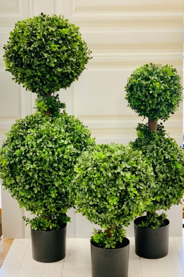 Faux Green Potted Boxwood
