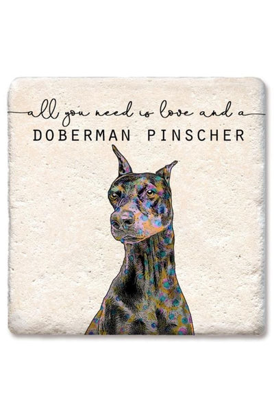 Tipsy Coasters Love and a Doberman Pincher Coaster