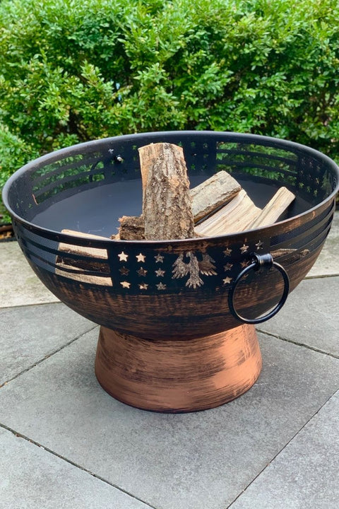Oversized Fire Bowl with Eagle Trim 27""