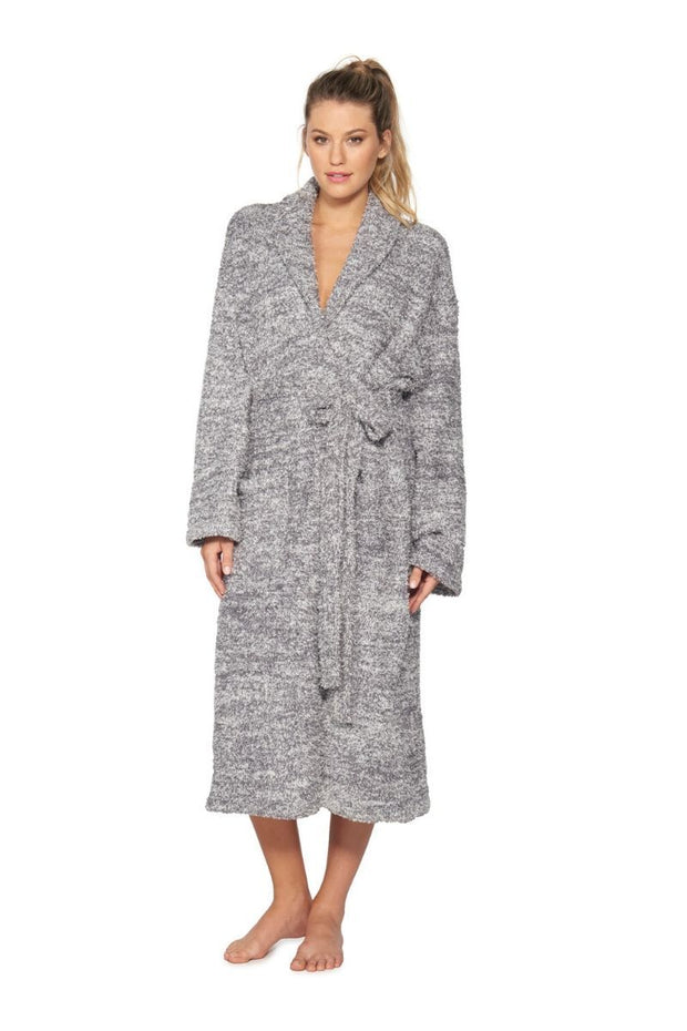 The Cozychic Heathered Adult Robe Graphite / White