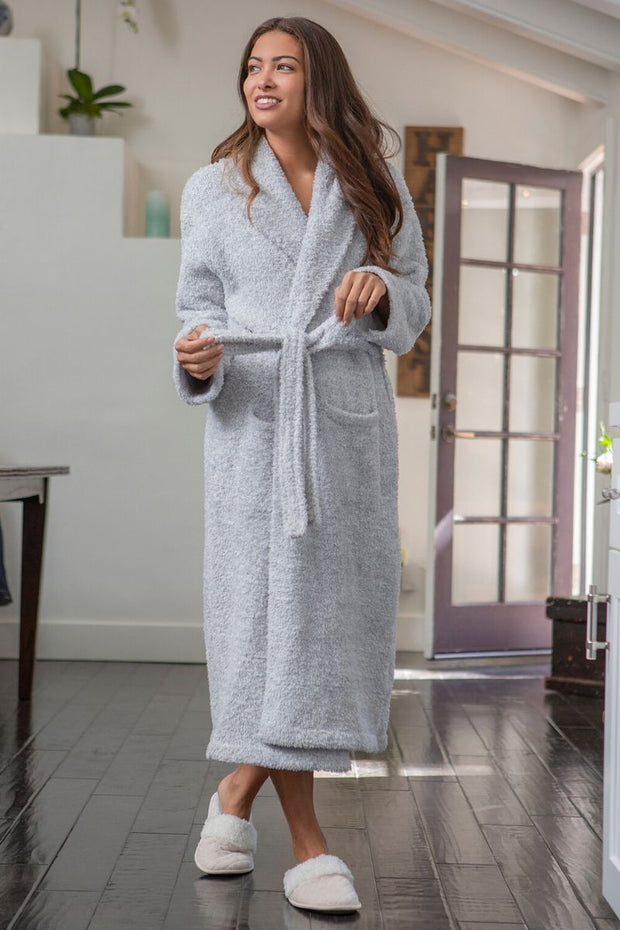 The Cozychic Heathered Adult Robe Ocean / White