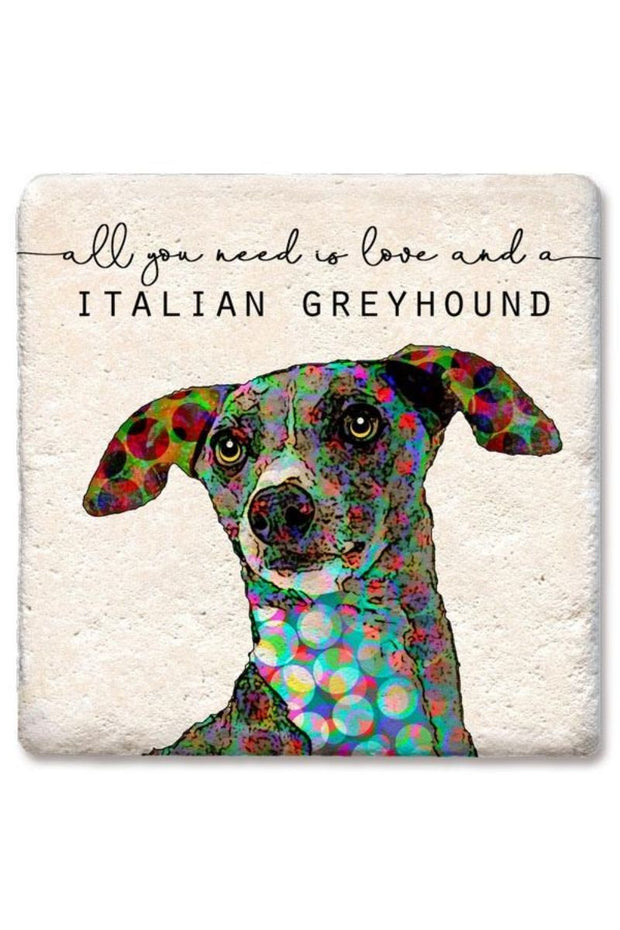 Tipsy Coasters Love and a Italian Greyhound Coaster