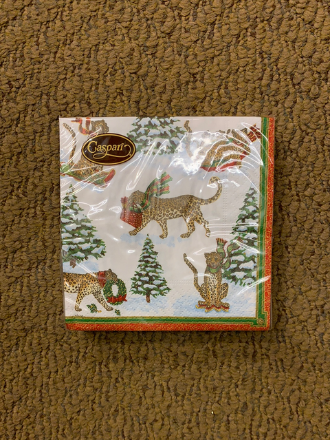 Caspar Cocktail Napkins, Leopards in Snow