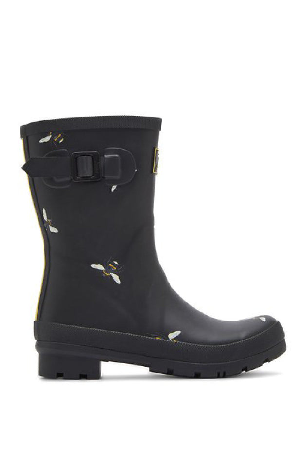 Joules Wellies | Molly Mid High: BLACK BOTANICAL BEE