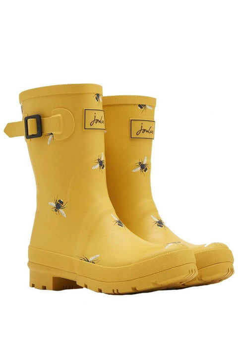 Joules Wellies | Molly Mid-High: GOLD BOTANICAL BEE