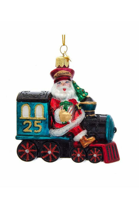 Glass Santa On Train Ornament