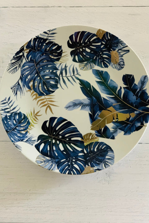 Ceramic Blue and Gold Palms Platter 14""