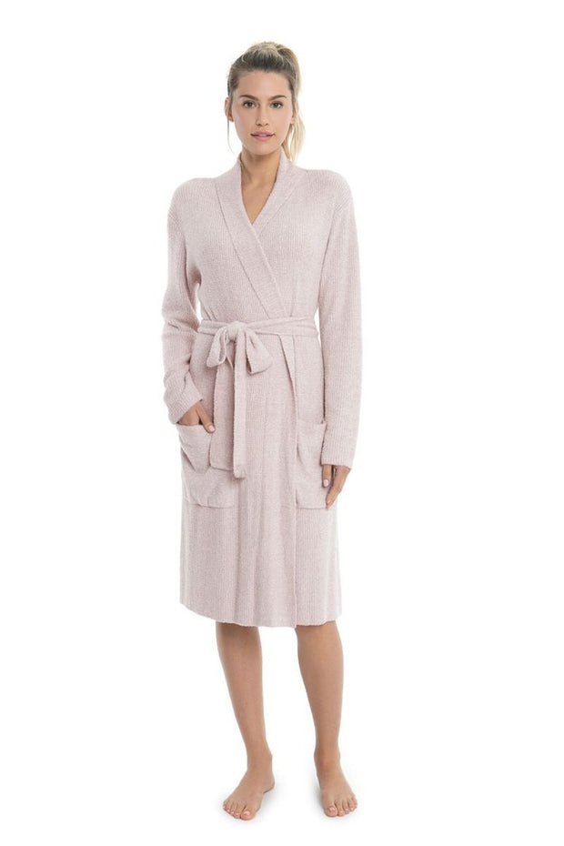 The Cozychic Lite Ribbed Robe Heathered Faded Rose / Pearl