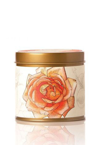 Rosy Rings, Apricot Rose Candle Tin 8 oz