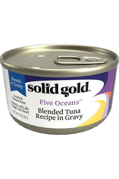 Solid Gold Five Oceans Shreds with Real Tuna Recipe in Gravy Grain-Free Canned Cat Food