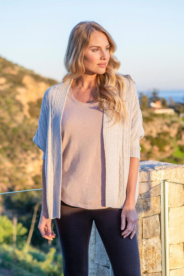 The Cozychic Lite Cable Shrug - Heathered Silver/Pearl