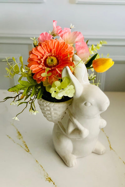 White Small Bunny Faux Floral Arrangement