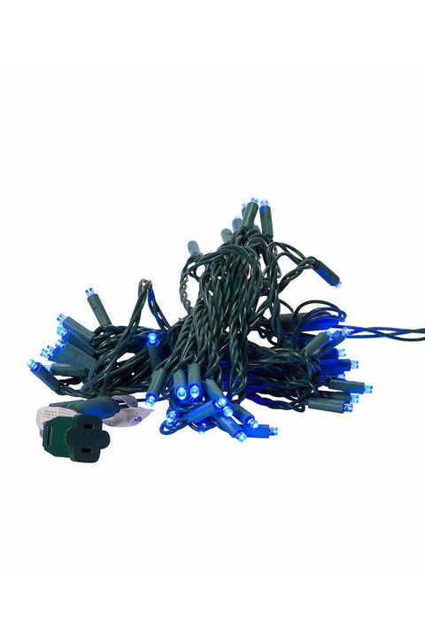 UL 50-Light 5MM Blue LED Green Wire Light Set