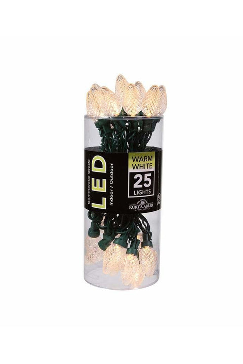25-Light Warm White LED C7 Light Set With Green Wire