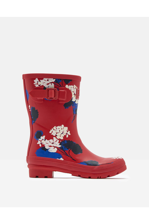 Joules Molly Mid Height Printed Red Lily Rain Boots