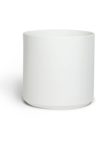 LBE Design Ceramic Cylinder Planter, White 12""