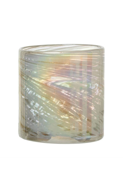 Iridescent White Glass Votive Holder 4""