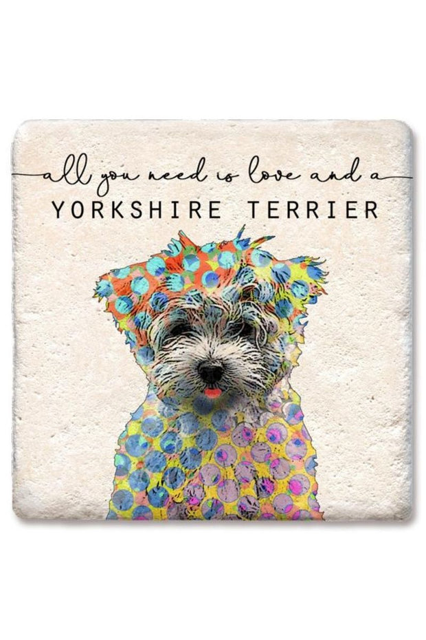 Tipsy Coasters Love and a Yorkshire Terrier Coaster