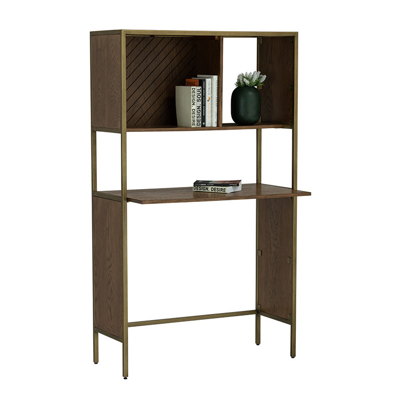 WILLINGHAM Study Desk - Brass & Wood
