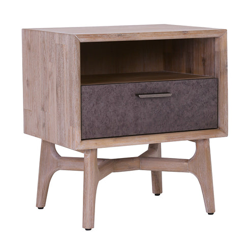 CORBIN Bedside Table - Acacia Solid Wood - Havana Sandblast Colour