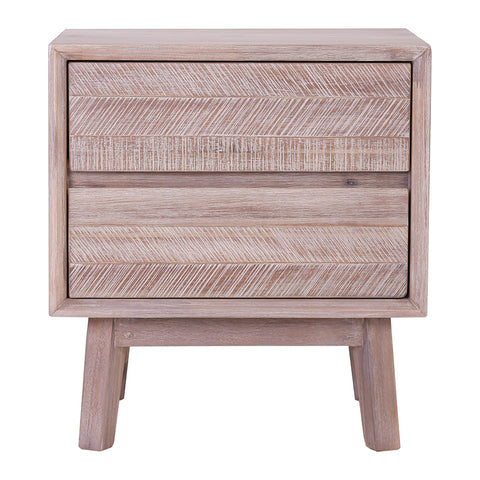 MADRID Bedside Table with 2 Drawers - Acacia Solid Wood - Navarrah Ash Colour