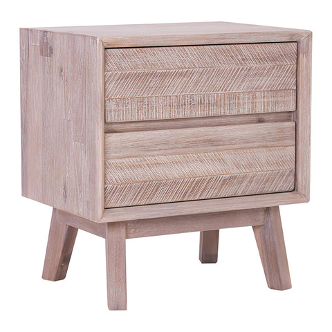 KERRON Bedside Table with 2 Drawers - Acacia Solid Wood - Navarrah Ash Colour