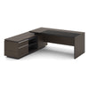 Carter Executive Office Desk + Left Return - 220cm - Coffee + Charcoal