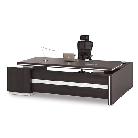 Xander Executive Office Desk + Right Return - 249cm - Black + White