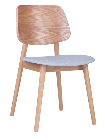MERCY Dining Chair Wooden Backrest - Natural/ Light Grey