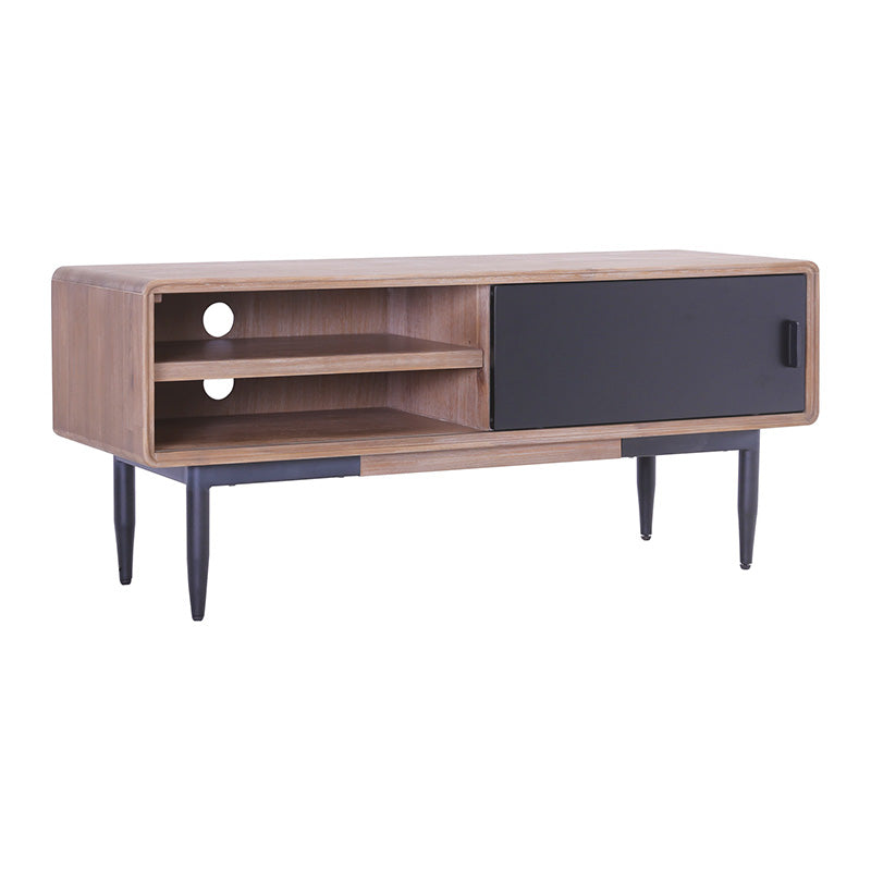 BINDER TV Entertainment Unit 130cm Acacia Solid Wood - Black & Taupe