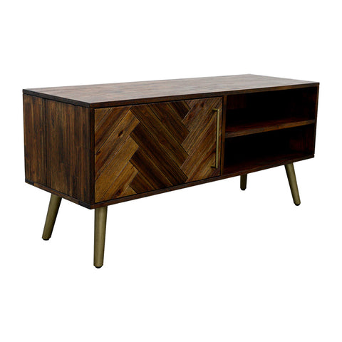 SIVAN TV Entertainment TV Unit 130cm Acacia Solid Wood - Brown