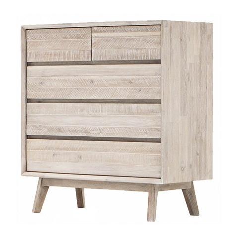 MADRID Tallboy 100cm Acacia Solid Wood - Grey Distressed