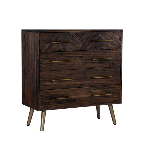 SIVAN Tall Sideboard Solid Wood - Chocolate/Dijon