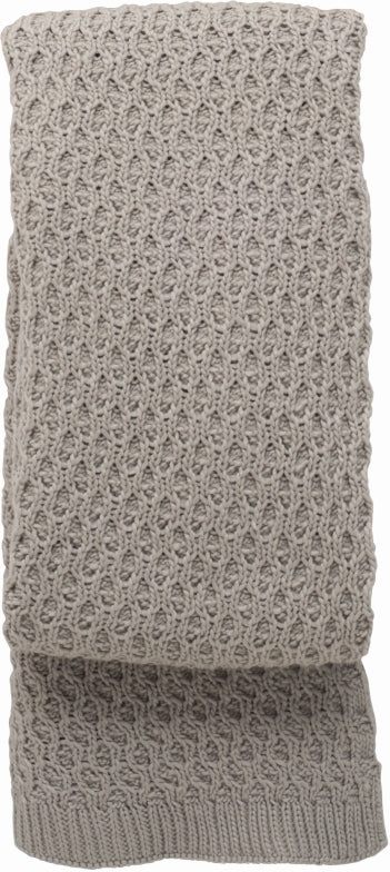 TAUPE LATTICE KNITTED THROW RUG