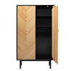 CALVI Tall Sideboard 95cm -  Natural & Black